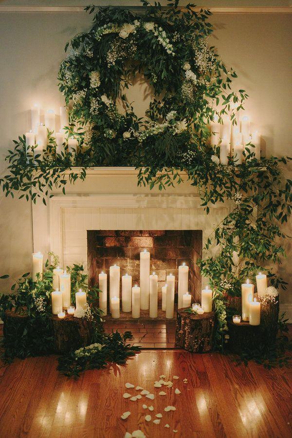 candle lit fireplace diy christmas