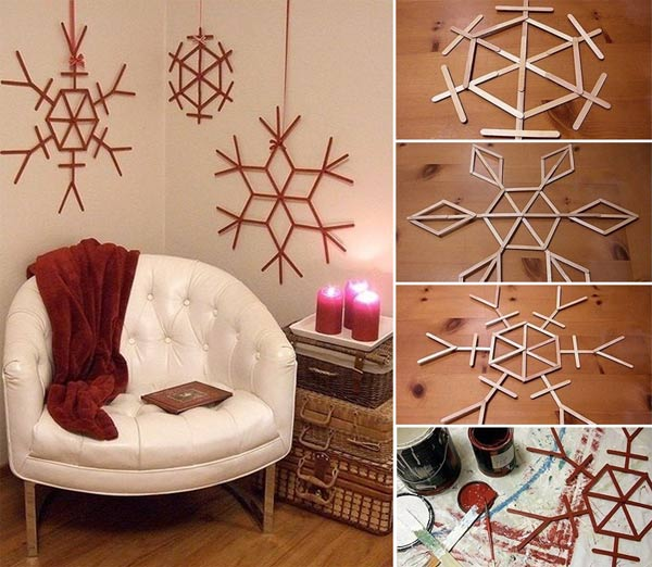 Popsicle stick wall ornaments christmas