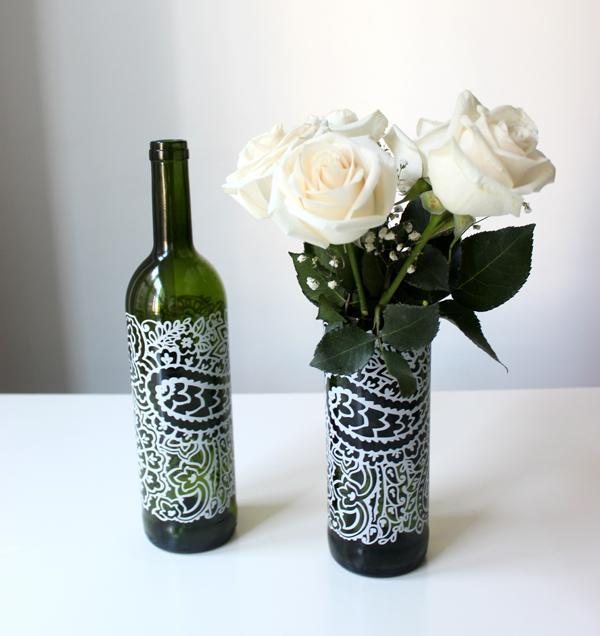 Wine bottle vases christmas diy