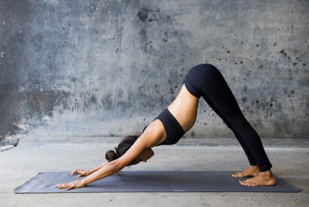 What is the downward dog yoga position?